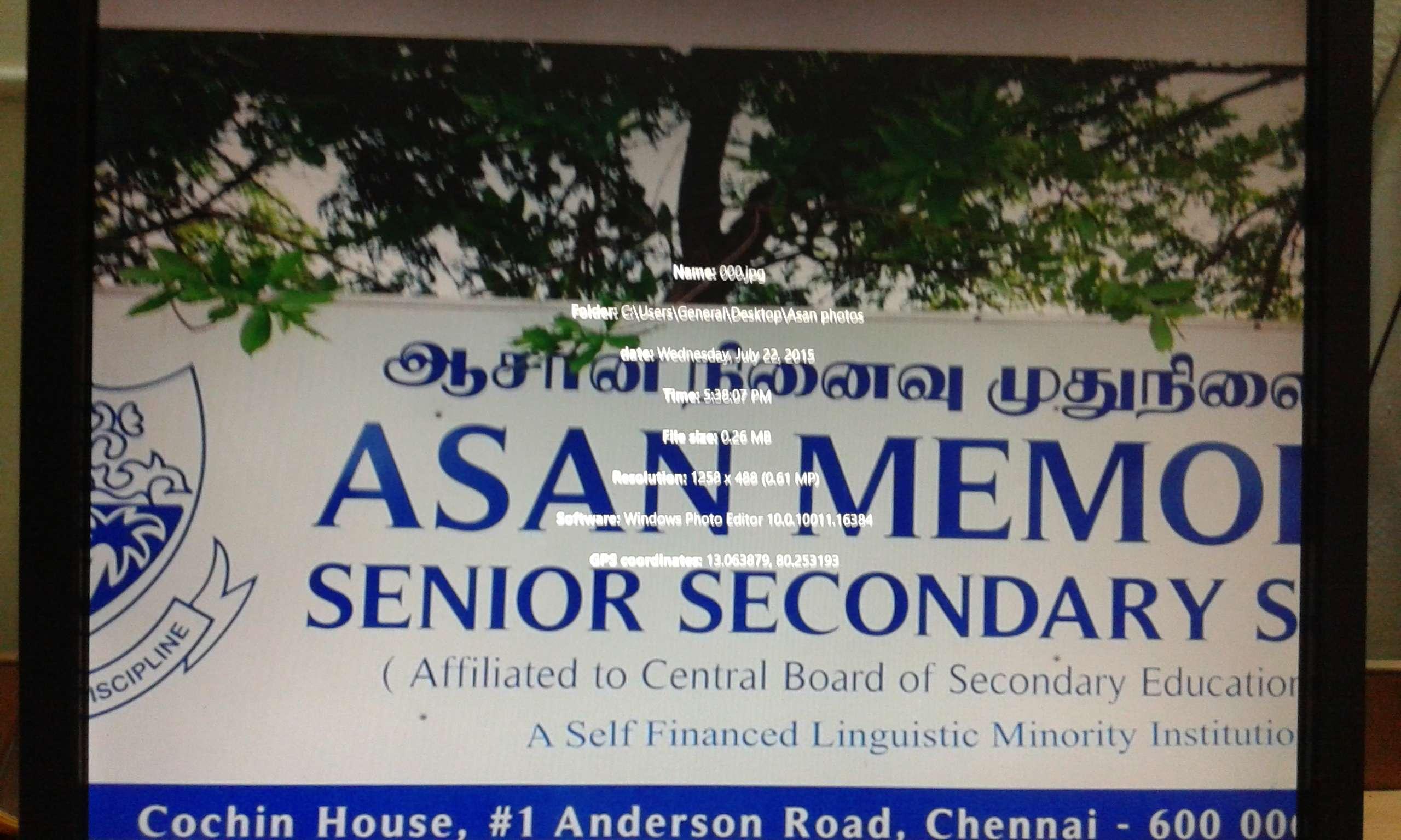 ASAN MEMORIAL SR SEC SCHOOL COCHIN HOUSE 1 ANDERSON ROAD CHENNAI TAMIL NADU 1930002
